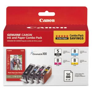 Canon Inks & Paper Pack, Black; Cyan, Magenta, Yellow (CNM0628B027)