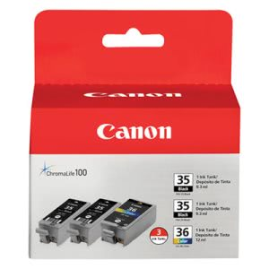 Canon 1509B007 (CLI-36) Ink, 3/Pack, Black; Tri-Color (CNM1509B007)