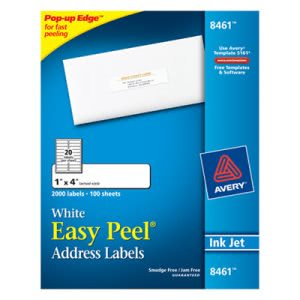 Avery Easy Peel Inkjet Address Labels, 1 x 4, White, 2000/Box (AVE8461)