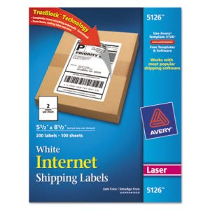 Avery Shipping Labels with TrueBlock Technology, White, 200 per Box (AVE5126)