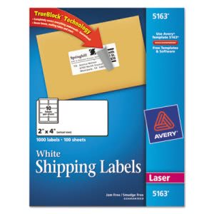 Avery Shipping Labels with TrueBlock Technology, 2 x 4, 1000/Box (AVE5163)