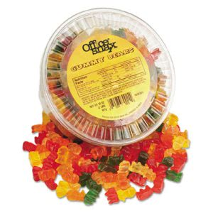 Office Snax Gummy Bears, Assorted Flavors, 2 lb/Tub (OFX70015)