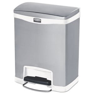 Rubbermaid 1901990 Slim Jim 8 Gallon Step-On Trash Can, White (RCP1901990)