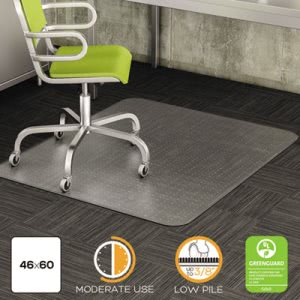 Deflect-o DuraMat Chair Mat for Low Pile Carpet, 46w x 60h, Clear (DEFCM13443F)