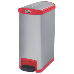 Rubbermaid 1901996 Slim Jim 13 Gallon Step-On Trash Can, Red (RCP1901996)