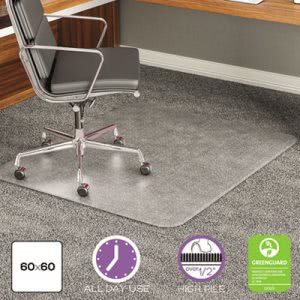 Deflect-o ExecuMat Studded Beveled Chair Mat, High Pile Carpet, 60w x 60l, Clear (DEFCM17743)