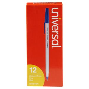 Universal Ballpoint Stick Oil-Based Pen, Blue Ink, Fine, Dozen (UNV27421)