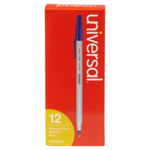 Universal Economy Ballpoint Stick Oil-Based Pen, Blue Ink, Dozen (UNV27411)