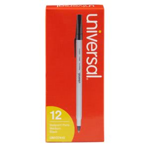 Universal Economy Ballpoint Stick Oil-Based Pen, Black Ink, Dozen (UNV27410)