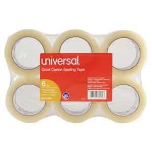 Universal Quiet Carton Sealing Tape, 110 yards, Clear, 6/Box (UNV73000)
