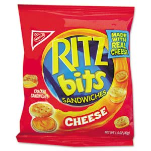 Nabisco Ritz Bits, Cheese, 1 1/2 oz Packs, 60 Packs/Carton (RTZ06834)