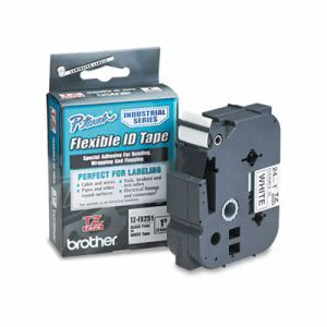 Brother P-Touch TZe Flexible Tape Cartridge, Black on White (BRTTZEFX251)