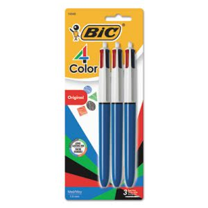 Bic 4-Color Ballpoint Retractable Pen, Assorted Ink, Med, 3 per Pack (BICMMP31)