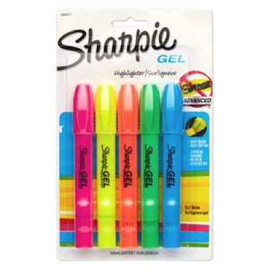 Sharpie Gel Highlighter, Assorted Colors, 5 per Pack (SAN1803277)