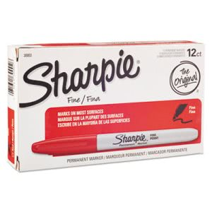 Sharpie Permanent Marker, Fine Point, Red, Dozen (SAN30002)