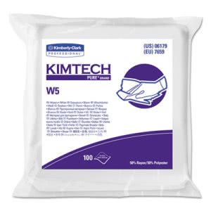 Kimtech* W5 Dry Wipers, Flat, 9 x 9, White, 100/Pack, 5/Carton (KCC06179)