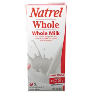 Natrel Milk, Whole Milk, 32 oz Resealable Bottle, 12/Carton (AGO30338)