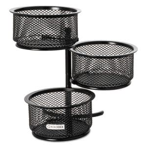 Rolodex 3 Tier Wire Mesh Swivel Tower Paper Clip Holder, 3 3/4 x 6 1/2 x 6, Black (ROL62533)
