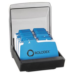 Rolodex Petite Covered Tray Card File Holds 250 2.25 x 4 Cards, Black (ROL67093)