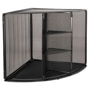 Rolodex Mesh Corner Desktop Shelf, Five Sections, 20 x 14 x 13, Black (ROL62630)