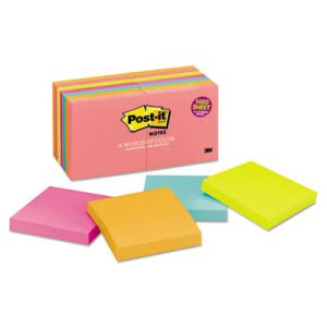 Post-it Notes Original Pads, 3 x 3, Five Neon Colors, 14 Pads (MMM65414AN)