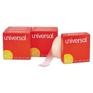 "Universal Invisible Tape, 3/4"" x 1000"", 1"" Core, Clear, 6/Pack (UNV83410)"