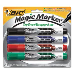 Magic Marker Dry Erase Markers, Assorted, 4 Markers (BICGELITP41AST)
