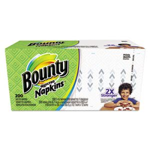 Bounty Quilted Napkins, Mixed Whites & Prints, 200/Pack, 12 Packs (PGC34885CT)