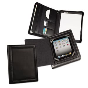 Samsill iPad Zipper Padholder With Magnetic  Flap, Vinyl, Black (SAM70600)