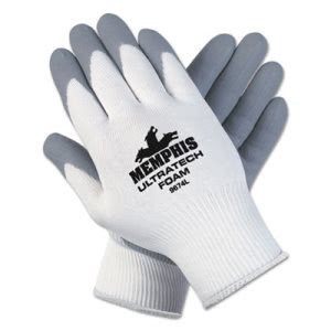 UltraTech Foam Nylon Gloves, Medium, Gray/White, 12 Pairs (MCR 9674M)