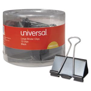 "Universal Large Binder Clips, 1"" Capacity, 2"" Wide, Black, 12 Clips (UNV11112)"