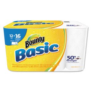 Bounty Basic 92970 Select-a-Size Kitchen Paper Towel Rolls, 12 Rolls (PGC92970)