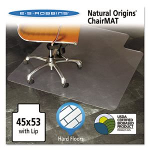 "ES Robbins Natural Origins Chair Mat w/ Lip, 53""x45"", Clear (ESR143012)"