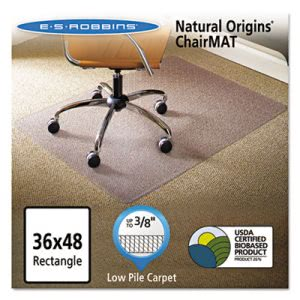ES Robbins Natural Origins Chair Mat For Carpet, 36 x 48, Clear (ESR141028)