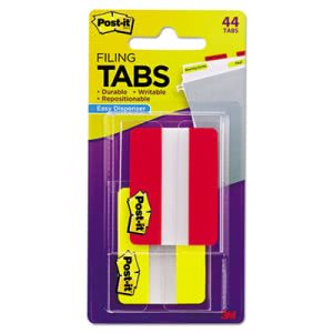 Post-it Tabs Durable File Tabs, 2 x 1 1/2, Red/Yellow, 44/Pack (MMM6862RY)