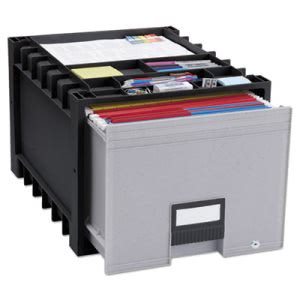 "Storex Drawer for Letter Files Storage Box, 18"" Depth, Black/Gray (STX61178U01C)"