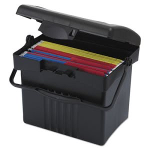 Storex Portable Storage Box, Letter Size, Black (STX61502U01C)