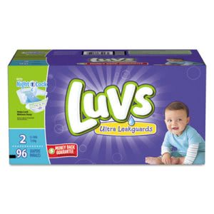 Luvs Diapers w/Leakguard, Size 2: 12 to 18 lbs, 96/Carton (PGC85928CT)