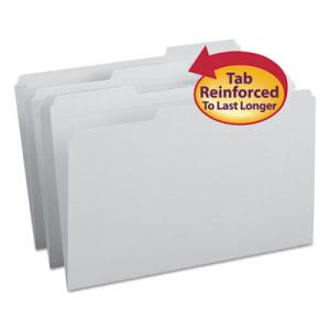 Smead File Folders, 1/3 Cut, Reinforced Top Tab, Legal, Gray, 100/Box (SMD17334)