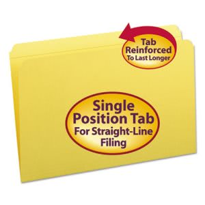 Smead File Folders, Straight Cut, Top Tab, Legal, Yellow, 100 per Box (SMD17910)
