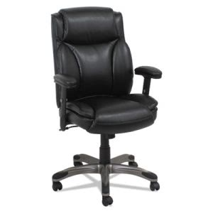 Alera Leather Mid-Back Manager's Chair w Spring Cushioning, Black (ALEVN5119)