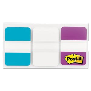 Post-it Tabs File Tabs, 1 x 1 1/2, Aqua/White/Violet, 66/Pack (MMM686AWV)