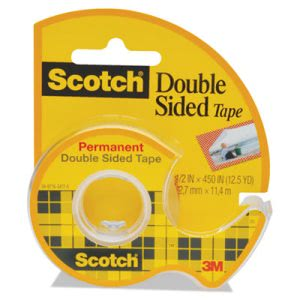 "Scotch 665 Double-Sided Office Tape w/Hand Dispenser, 1/2"" x 450"" (MMM137)"