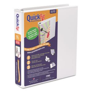 "Stride Quick Fit D-Ring View Binder, 1-1/2"" Capacity, White (STW87020)"