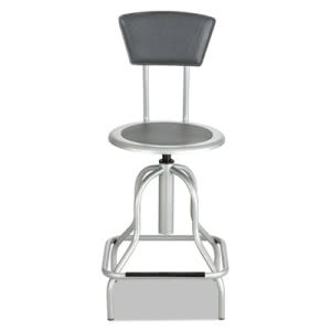 Safco Diesel Series Industrial Stool, Silver Leather Seat/Back Pad (SAF6664SL)
