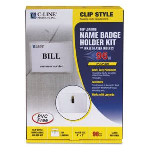 C-line Badge Holder Kits, Top Load, 3 x 4, White, Clip Style, 96/Box (CLI95596)