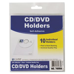 C-line Self-Adhesive CD Holder, 5 1/3 x 5 2/3, 10/PK (CLI70568)