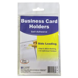 C-line Self-Adhesive Business Card Holders, Side Load, 10 per Pack (CLI70238)
