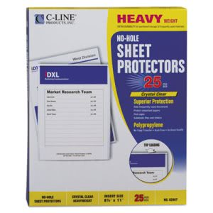 C-line Top-Load No-Hole Polypropylene Sheet Protector, Heavyweight, Clear, 25/Box (CLI62907)