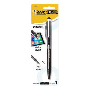 Bic 2 in 1 Retractable Ball Pen and Stylus, Retractable, Silver (BICBPSTP11SBK)